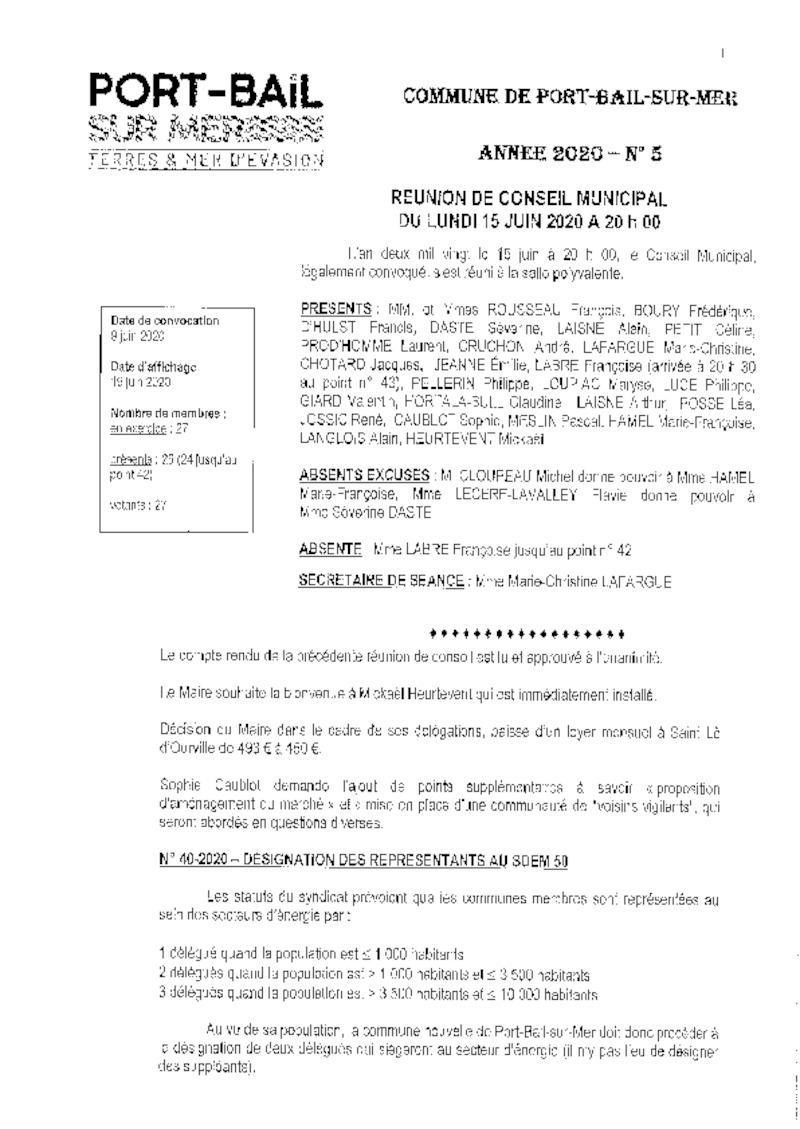 COMPTE RENDU DU CONSEIL MUNICIPAL