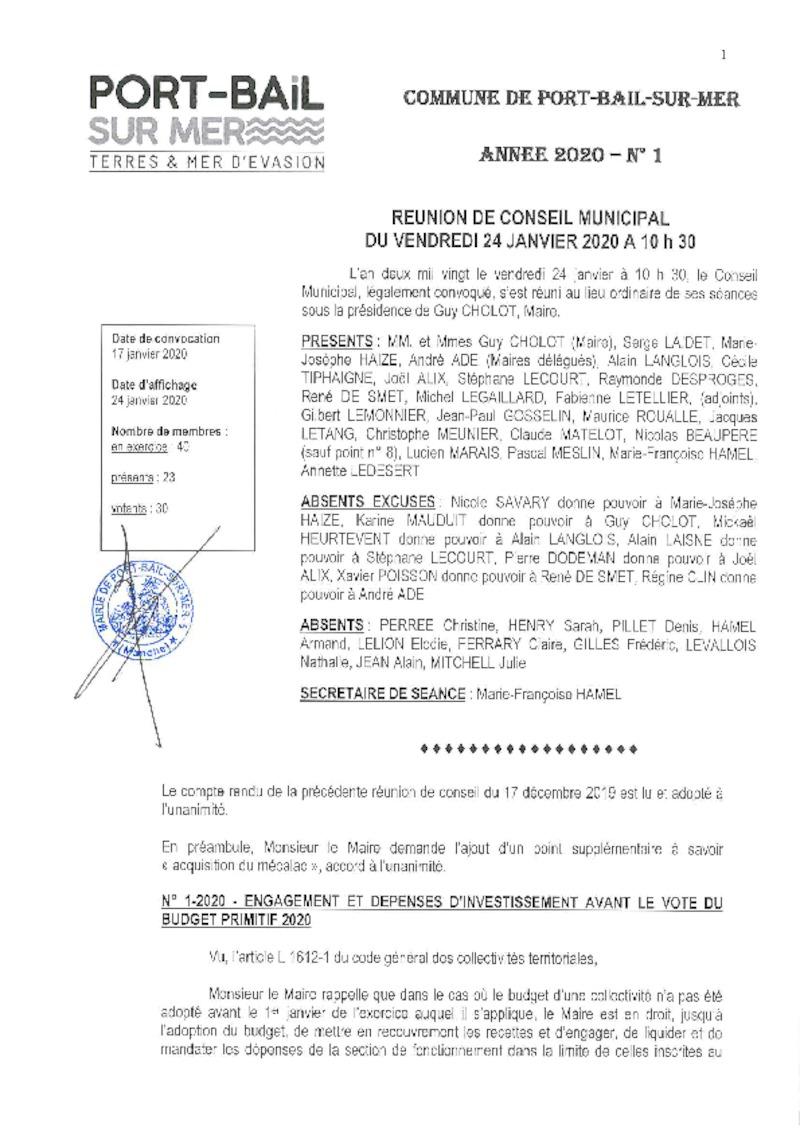 COMPTE RENDU DE CONSEIL MUNICIPAL