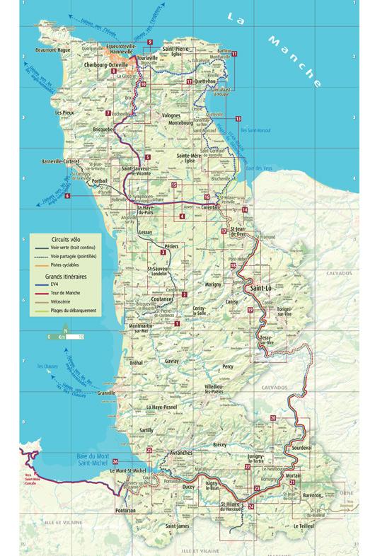 Carte des pistes cyclables dans la Manche